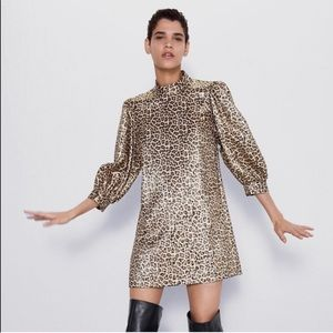 Zara metallic leopard puff sleeve dress